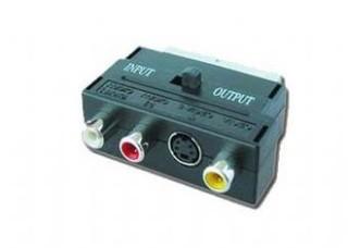 KABEL adapter SCART na 3x CINCH + S-VIDEO přep. VSTUP/VÝSTUP GEMBIRD