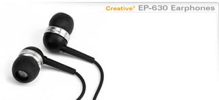 CREATIVE EP-630 black sluchátka do uší (pecky) konektor 3.5mm, (Earphones, černé)
