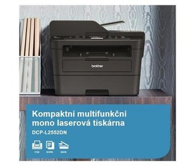 BROTHER Laser DCP-L2552DN Print/Scan/Copy, A4, 34str/min, USB, 250listů, 50 ADF, LAN, duplexní tisk