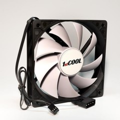 1stCOOL ventilátor SILENT 12CM FAN Black White, 120x25mm (bílé lopatky)
