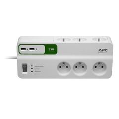 APC PM6U-FR SurgeArrest Essential, přepěťová ochrana 230V, 6 zásuvek + 2x USB nabíječka 5V, 2.4A