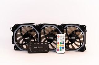 1stCOOL Fan KIT3 AURA RAINBOW 3, 3x ARGB LED ventilátor 120x25mm hex + řadič + dálkové ovládání (sada do case)