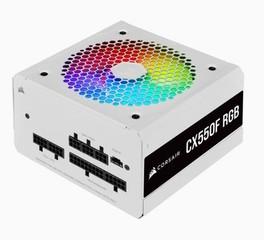 CORSAIR zdroj 550W CX550F RGB White MODULAR 80Plus Bronze certifikace s aktivnim PFC (RGB osvětlení, ventilátor 120 mm) modulární