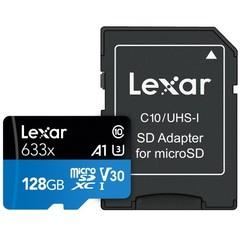 LEXAR Micro SD card SDXC 128GB High-Performance 633x UHS-I + SD adaptér