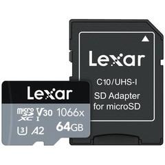 LEXAR Micro SD card SDXC 64GB Professional 1066x SILVER UHS-I + SD adaptér