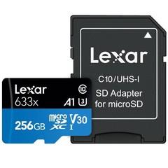 LEXAR Micro SD card SDXC 256GB High-Performance 633x UHS-I + SD adaptér