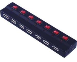 VALUE USB 2.0 Hub 7porty s ext. napájením a vypínači portů, černý (aktivní)