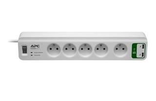 APC PM5U-FR SurgeArrest Essential, přepěťová ochrana 230V, 5 zásuvek + 2x USB nabíječka 5V, 2.4A
