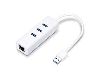 TP-LINK UE330 externi USB 3.0 sitovka 10/100/1000 s 3 portovým USB 3.0 hubem